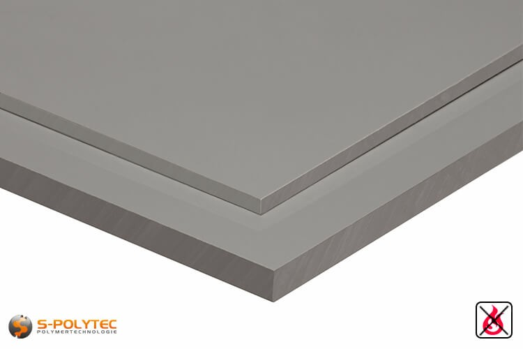 PVC platen lichtgrijs uit hard-PVC (PVCU) in diktes vanaf 1mm tot 30mm - detail