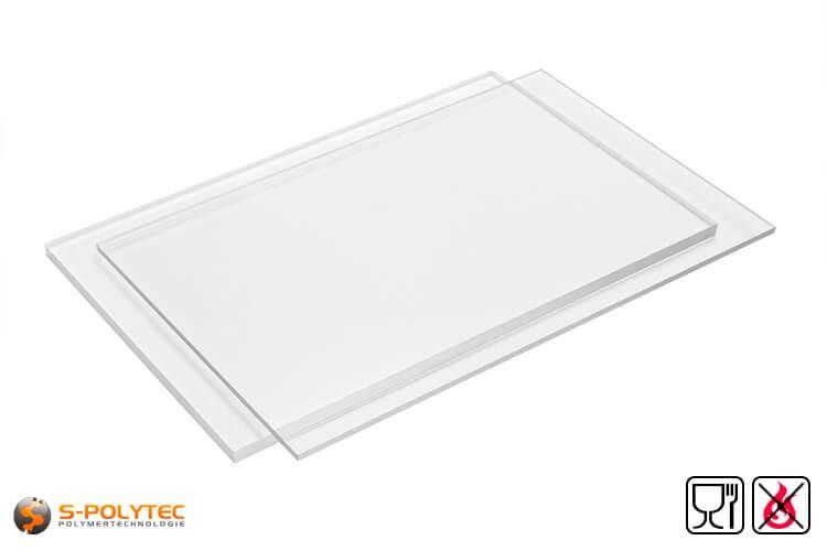 PETG platen transparant voor het gebruik met levensmiddelen toegelaten, moeilijk ontvlambaar als standaard formaat platen sheets 2,0 x 1,0 meter