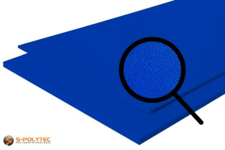 Polyethyleen (PE) platen blauw (soortgelijke RAL 5005) met en nerv 19mm