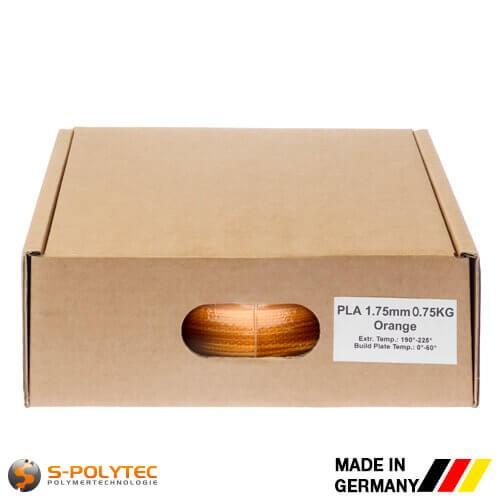 PLA filament in oranje (vergelijkbaar met RAL2005, briljantoranje) in hoge kwaliteit in vacuüm verpakt verschillende diameters als 0,75kg spool