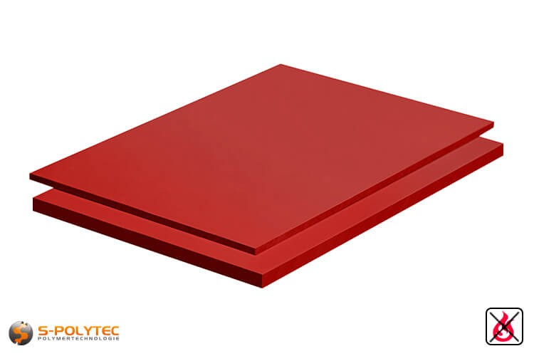 PVC platen rood uit hard-PVC (PVCU) in diktes vanaf 2mm tot 10mm als standaardplaat met 2x1m