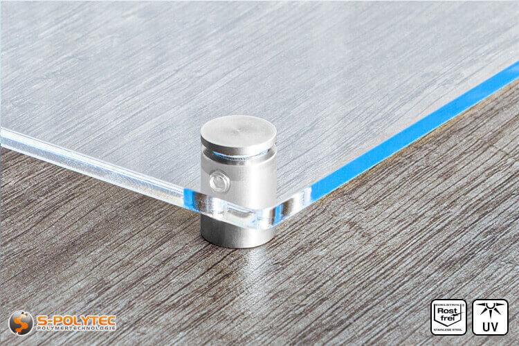Afstandhouder 13x13mm van roestvrij staal met acrylglasboard