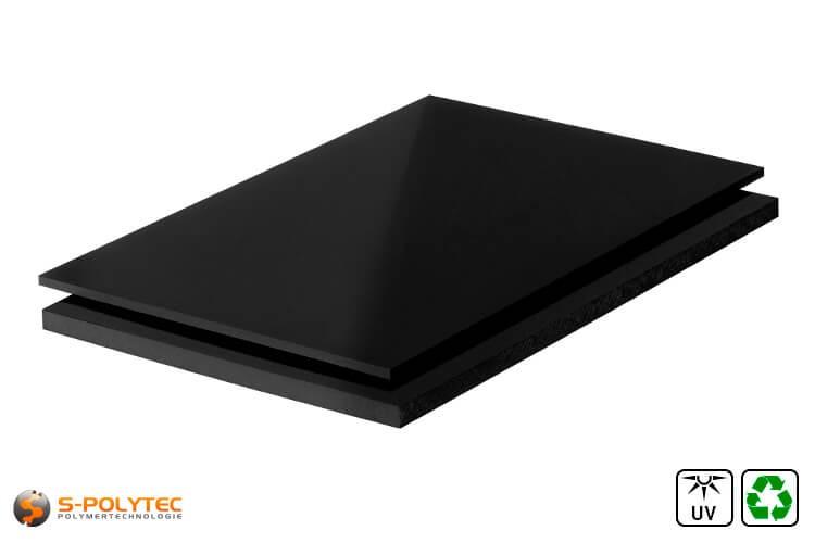 Polyethyleen platen (PE-UHMW, PE-1000) zwart van recycling materiaal met glad oppervlak in diktes vanaf 10mm tot 80mm als standaard formaat platen 2,0 x 1,0 meter