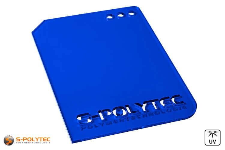 Acrylglas donkerblauw doorzichtig in lasersnede