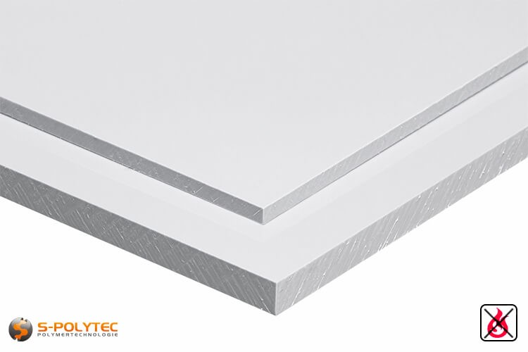 PVC platen wit uit hard-PVC (PVCU) in diktes vanaf 1mm tot 20mm - detail