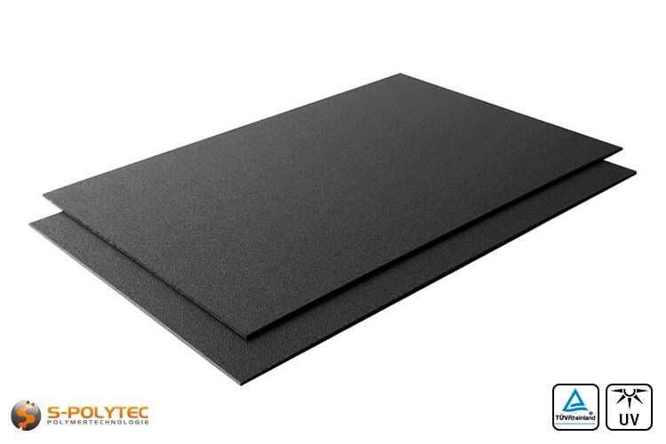 ASA/ABS zwart (soortgelijk RAL9005, Gitzwart) als standard format plaat 2000mm x 1000mm in 2mm en 4mm dikte
