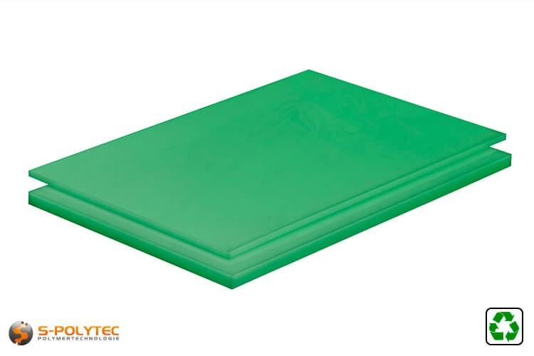 Polyethyleen platen (PE-UHMW, PE-1000) groen van recycling materiaal met glad oppervlak in diktes vanaf 10mm tot 80mm als standaard formaat platen 2,0 x 1,0 meter