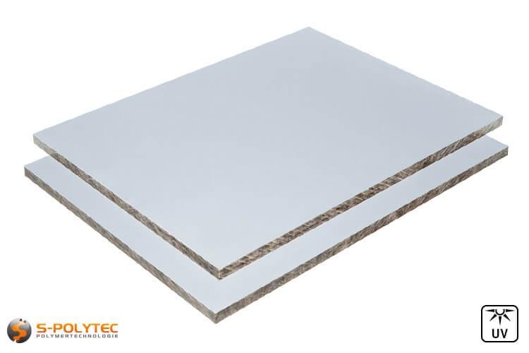 HPL platen met zilvergrijs overplak aan beide zijden in 6mm of 8mm dikte op maat