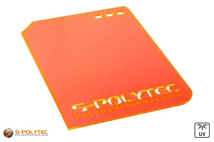 Acrylglas oranje fluorescerend (Lasersnede)