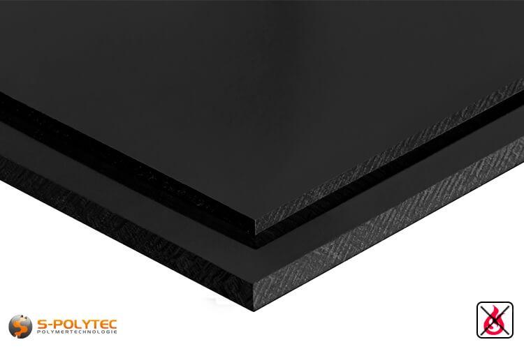 PVC platen zwart uit hard-PVC (PVCU) in diktes vanaf 1mm tot 40mm - detail