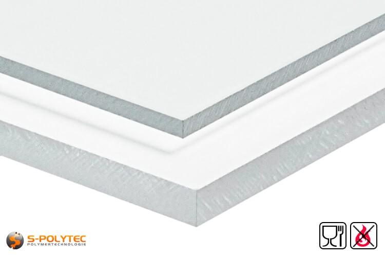 PETG platen transparant voor het gebruik met levensmiddelen toegelaten, moeilijk ontvlambaar als standaard formaat platen 2,0 x 1,0 meter - detail