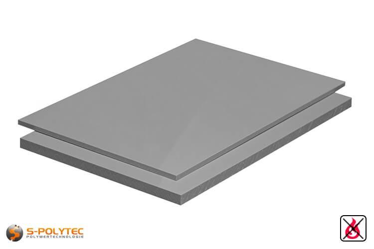 PP-S platen (moeilijk ontvlambaar volgens DIN 4102 B1 polypropyleen) in grijs met glad oppervlak in diktes vanaf 3mm tot 20mm als standaard formaat platen 2,0 x 1,0 meter