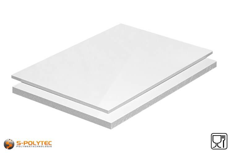 Polypropyleen platen (PP-H) wit (soortgelijk RAL9016) in diktes vanaf 10mm tot 20mm as standaard-formaat plaat met 2x1meter