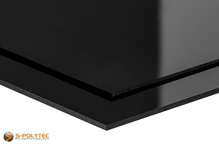 Polystreen-Platen in zwart, hoogglans in diktes van 2mm en 3mm - detail