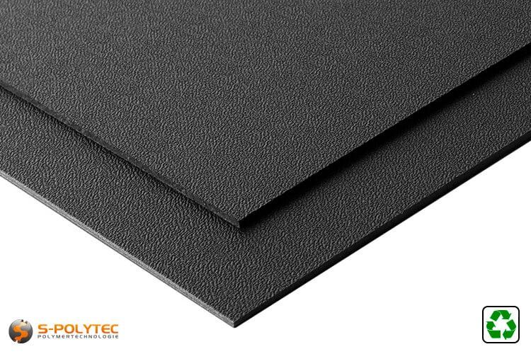 HDPE plaat zwart met en nerv uit gerecycled materiaal in het formaat 2x1meter