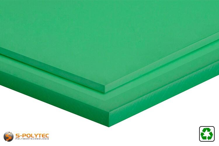 Polyethyleen recyclaat  platen (PE-UHMW, PE-1000) groen in diktes vanaf 10mm tot 80mm als standaard formaat platen 2,0 x 1,0 meter - detail