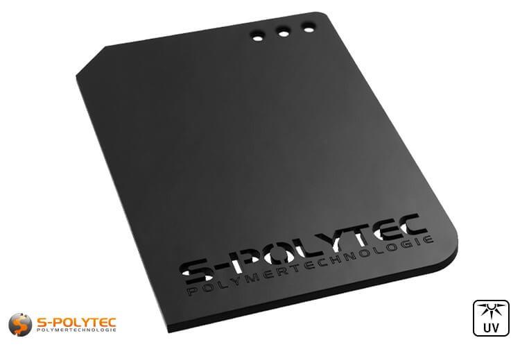 Acrylplaten in zwart zijn verkrijgbaar als individuele lasersnedes tot een totale afmeting van 1500mm x 980mm
