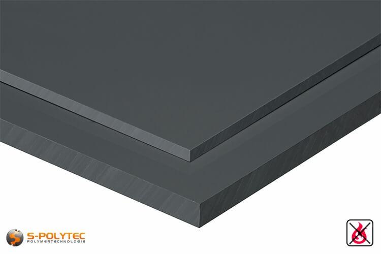 PVC platen donkergrijs uit hard-PVC (PVCU) in diktes vanaf 1mm tot 50mm - detail