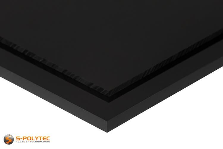 ABS platen in zwart in diktes vanaf 1mm tot 10mm als standaard formaat platen 2,0 x 1,0 meter - detail